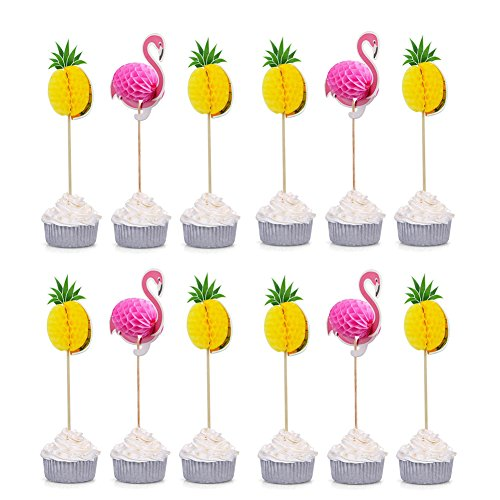 Cupcake Picks 3d - DINGJIN 40 PCS 3D Pineapple and Flamingo Cupcake Toppers DIY Cakes Topper Picks for Wedding/Birthday Luau Party Decoration Baby Shower Supplies