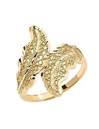 Double Laurel Wreath Leaf Filigree Ring in High Polish 10k Yellow Gold