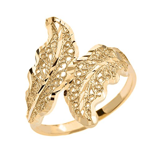 Modern Contemporary Rings Double Laurel Wreath Leaf Filigree Ring in High Polish 10k Yellow Gold (Size 6.5)