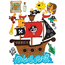 Wallies Peel & Stick Vinyl Wall Decals, Pirates Wall Sticker, Includes 1 Ship, 1 Island, 2 Pirates And Assorted Sticker Decals