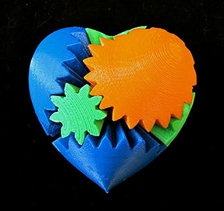 Día de San Valentín Geek Love impreso en 3d mecánica Gear corazón ...