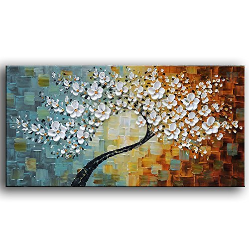 - YaSheng Art -100% Hand-Painted Contemporary Art Oil Painting On Canvas Texture Palette Knife Tree Paintings Modern Home Interior Decor Abstract Art 3D Flowers Paintings Ready to Hang 24x48inch