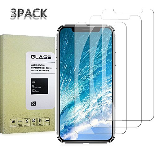 (3-Pack)iPhone X Screen Protector Glass, iPhone X, Tempered Glass Screen Protector for Apple iPhone X, 2017