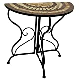 D64066 Mosaic ½ Moon Table/ Wrought Iron legs