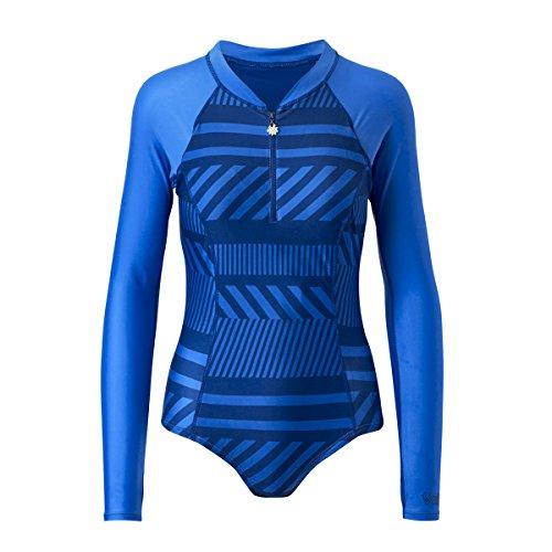 UV SKINZ UPF 50+ Women's Long Sleeve Half-Zip Swimsuit (M, Navy Blue Crossroads) ()