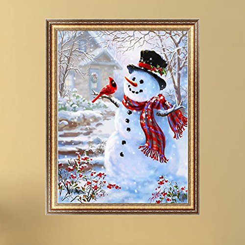 LAYs 5D Round Diamond Painting Christmas Snowman Embroidery DIY Cross Stitch Kit Home Wall Decor