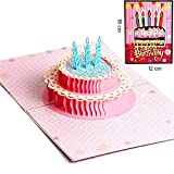 IShareCards Handmade Colorful 3D Pop Up Happy Birthday Card (180° Print 3D Cake)