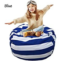 EXTRA LARGE Stuffed Animal Toy Storage Bean Bag Cover Kids Bean Cover Soft Seat (blue)