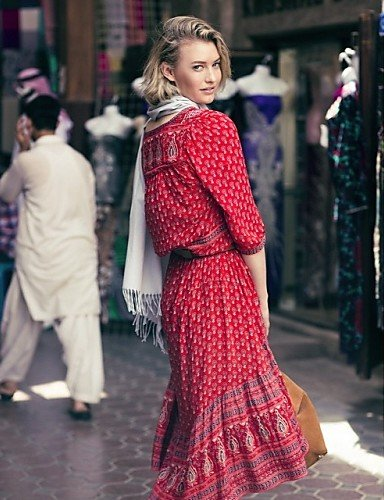 PU&PU Robe Aux femmes Swing Décontracté / Mignon Col en V Asymétrique Coton , black-l , black-l