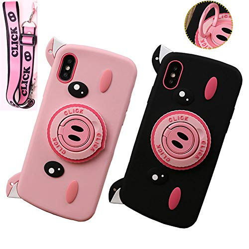 ICI-Rencontrer Super Cute 3D Piggy Pattern iPhone XR Case Flexible Silicone Cover Shockproof Anti-Scratch Case with Funny Ring Holder and Unique Hang Rope (Black, iPhone XR) ()