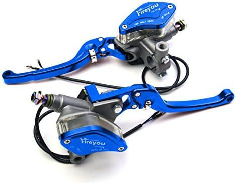 125 bis 400CC Motorrad Hydraulikhebel 22mm Bremszylinder Reservoir Set (Blau)
