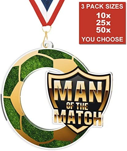 FOOTBALL MAN OF THE MATCH ACRYLIC MEDAL 50mm 3 SIZES PACK OF 10 WITH RIBBONS