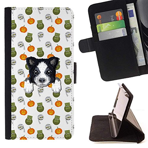 [ BORDER COLLIE ] Embroidered Cute Dog Puppy Leather Wallet Case FOR LG K4 (2017) / LG K8 (2017) / LG Aristo/LG Phoenix 3 / LG Risio 2 / LG Fortune [ Angry Halloween Pumpkin Pattern ] ()