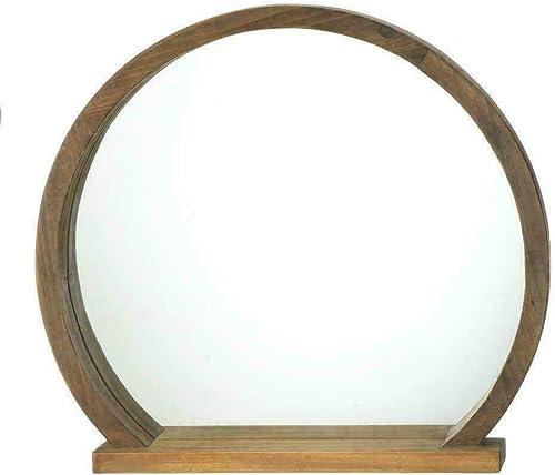 Round Wooden Mirror with Shelf 17.75×2.75×16