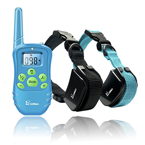 PETAMER Pet Training Collar For 2 Dogs(Soft Silicone Probes), Waterproof Rechargeable Electric Remote Bark Collar, One Hand Controlled, Safe Humane Dog Shock Vibro Beep Collar