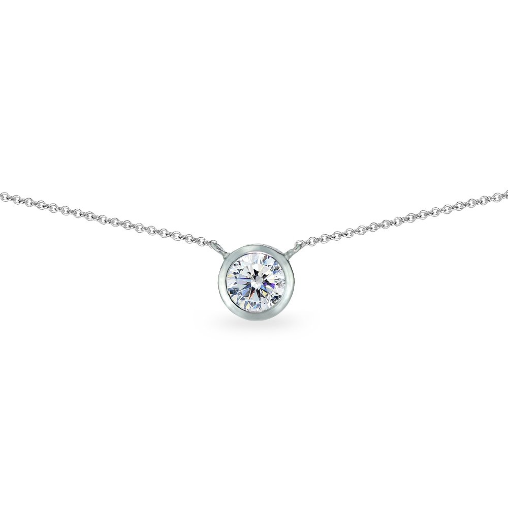 Sterling Silver 6mm Round Bezel-Set Dainty Choker Necklace Made with Swarovski Zirconia