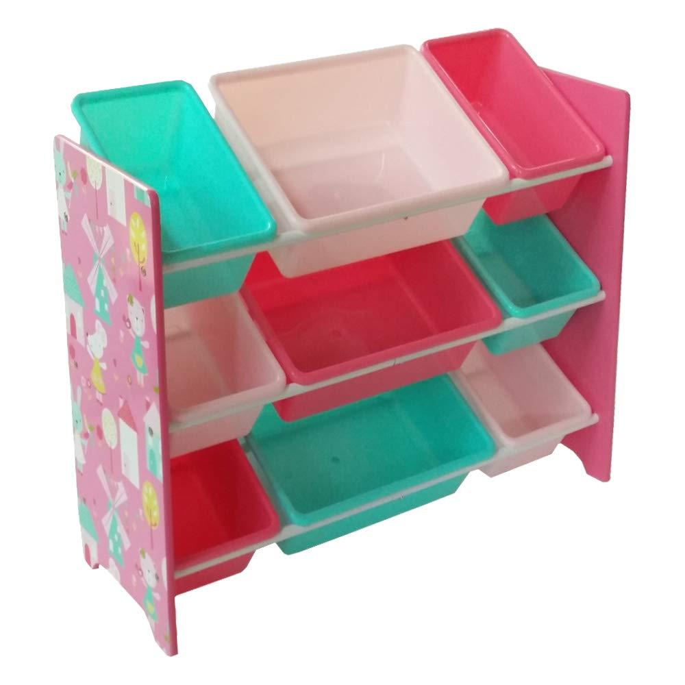 Kinderregal Spielzeugregal Spiezeugkisten mit mit mit 9 Boxen Aufbewahrungsbox Bücheregal Mehrfabig HS-17GD-003 (84 x 60 x 30 cm) 05ee98