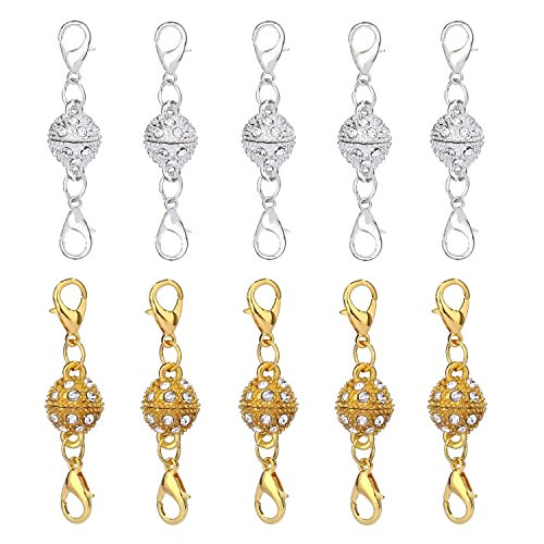 Aiskaer 10 Pcs Gold Color and Silver Color Rhinestone Ball Style Magnetic Lobster Clasps for Jewelry Necklace Bracelet (Plastic Mm 43 Snap)