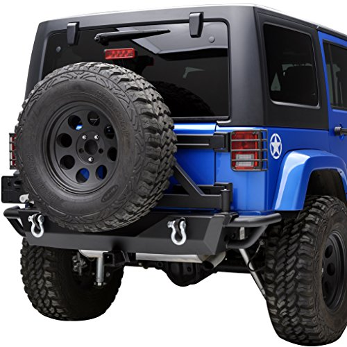 E-Autogrilles Jeep Wrangler JK Textured Black Rear Bumper with Tire Carrier