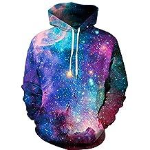 Imilan 3D Animal Galaxy Print Hooded Sweatshirt Sports Sweater