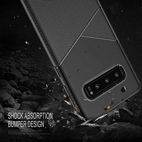 for Samsung Galaxy S10 Plus Case,Thing-ning Slim Fit Premium PU Leather Soft TPU Bumper Rugged Grip Shockproof Protective Cover Cases Compatible with Samsung Galaxy S10 Plus (Black) by thing-ning Phone Case (Image #5)
