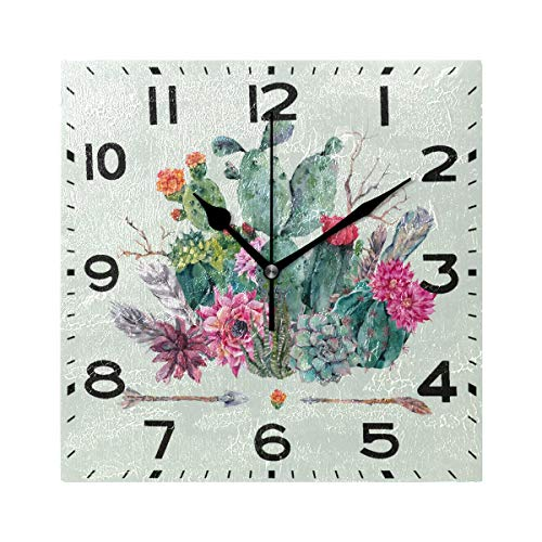 Naanle Chic Boho Cactus Arrow Pattern Square Wall Clock Decorative, 8 Inch Battery Operated Quartz Analog Quiet Desk Clock for Home,Office,School(Green) (Arrow Clock)