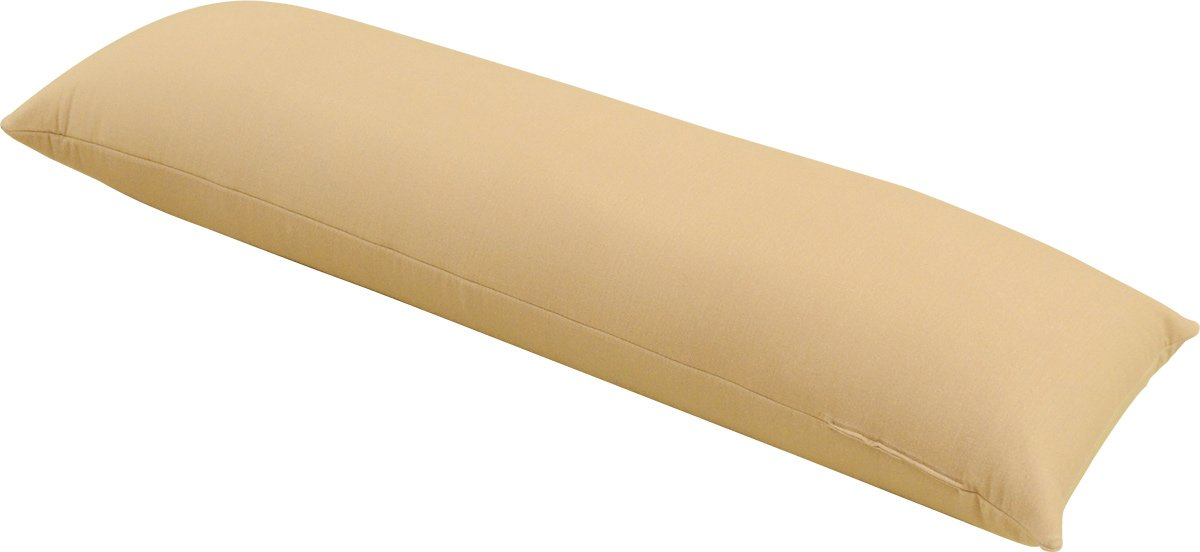EMOOR Made-in-Japan Microbeads ''Mochi Mochi'' Body Cushion, Large Size, Beige.