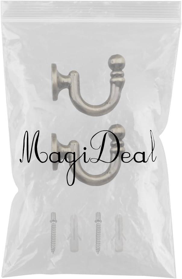 MagiDeal 2 St/ück Metall Raffhalter Vorhang Haken Halter Wand Wohnzimmer Dekoration Bronze