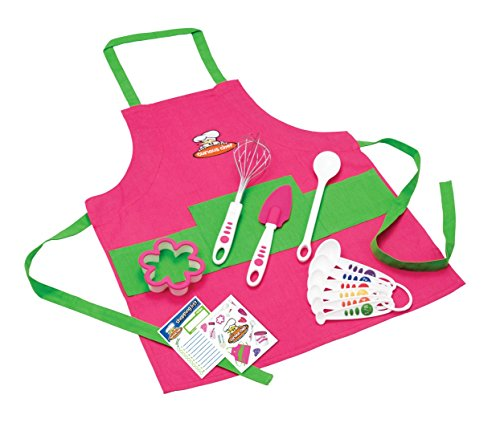 Real Kitchen Tools and Cookbook for Kids - Curious Chef TCC50186 11-Piece Kids' Chef Kit, Pink/Green