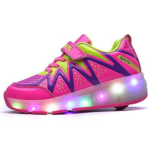 zgshnfgk Children's LED Light Roller Skates Single-Wheeled Shining Shoes Children Girls Boys (Wheeled Stretcher)