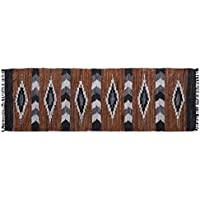 Home Furnishings by Larry Traverso Snake River Canyon Handwoven Leather Rug Runner, 2-1/2-Feet by 8-Feet, Multi Colored
