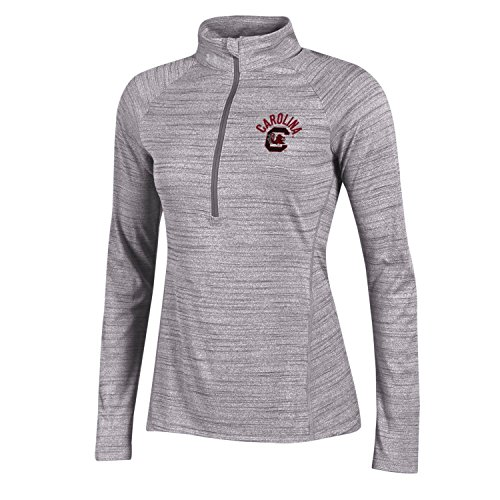 NCAA South Carolina Fighting Gamecocks Womens NCAA Women's Under Armour 1/2 Zip Tech Tee, Gray, (South Carolina Womens Zip)