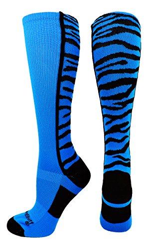 MadSportsStuff Crazy Socks with Safari Tiger Stripes Over the Calf Socks (Electric Blue/Black, Small)