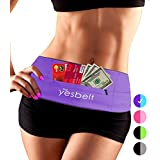 YesBelt 1 REVERSIBLE Running Belt and Waist Pack w ZIPPER - Better than Cell Phone Sports Armband - iPhone 6 Plus - Best Travel Money Belt - Stylish Fitness Zip 'n Flip Band for Workout - Purple XL