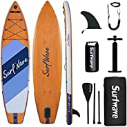 Surfwave Inflatable Paddle Board, 11'×33'' Stand Up SUP Board W/Camera Mount, 5L Waterproof Bag, F