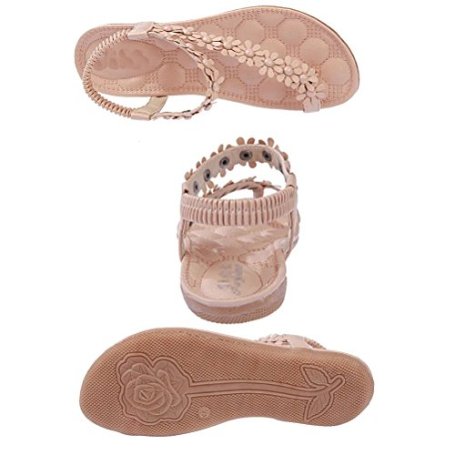 Donalworld de flores y cuentas de manga corta para mujer Bohemia para niña diseño de playa con tapa-flop de paleta para zapatos sandalias Sweet Beige - beige