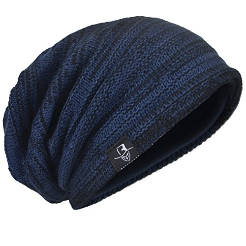 (HISSHE Men Oversize Skull Slouch Beanie Large Skullcap Knit Hat (Navy1))