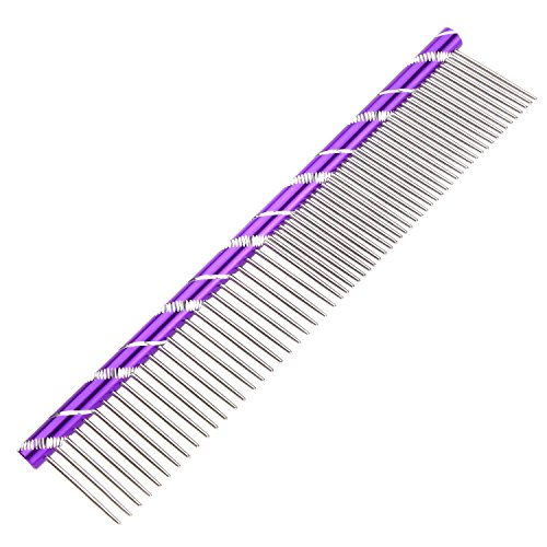 ETOP Colors Stainless Steel Dog Pet Combs With Rounded Spine Pet Grooming Tools-Deshedding Brush (Purple)