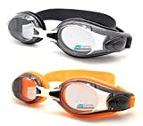2 pairs of Swim Gg Orange Black combo for Adults, Youth and Kids with an Adjustable Nose Bridge