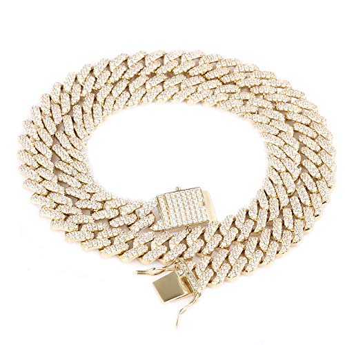 Heavy Plated Gold Chain Bracelet - GOLD IDEA JEWELRY 12MM Flooed Diamond Cuban Link Chain - Heavy 14k Gold Plated Cuban Link Necklace (22)