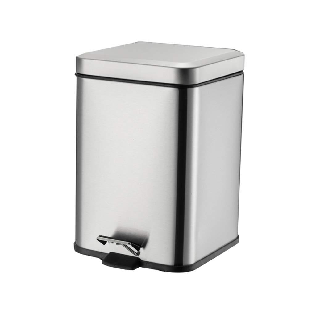 Trash can-YA KJZ Tipo de Pedal Cuadrado Cubo de Basura, Creativo Acero Inoxidable Metal Cubo de Basura silenciado Tipo de Pedal Cubo de Basura Cubierto Escombros, Recoger, Dispositivo
