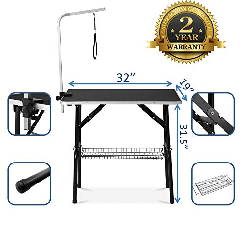 puppykitty 32″ Professional Dog Grooming Table w/Adjustable Arm & Noose & Mesh Tray pet Grooming Table for Dogs Dog Grooming Tables Small Dogs