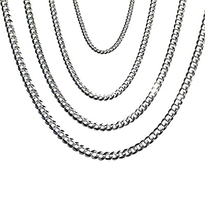 "14K Solid White Gold Cuban 3mm Chain 16"", 18"", 20"", 22"", 24"", 26"", 28"", 30"" from Joule Shop"
