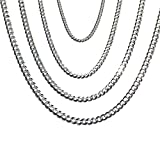 """14K Solid White Gold Cuban 2.5mm Chain 16"""", 18"""", 20"""", 22"""", 24"""""""