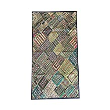 Mogul Bohemian Tapestry Embroidered Handmade Patchwork Green Wall Hanging