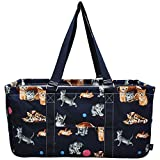 NGIL All Purpose Open Top 23'' Classic Extra Large Utility Tote Bag Spring 2018 Collection (Kittens Navy)