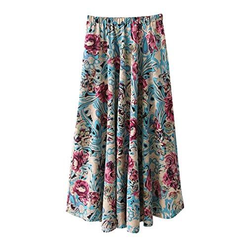 Style ZKOOO Taille Femmes Parapluie Fleurs pour Impression Plage Maxi Longue de 4 Haute Jupes Skirts Boheme Jupe nWrnxZ4c