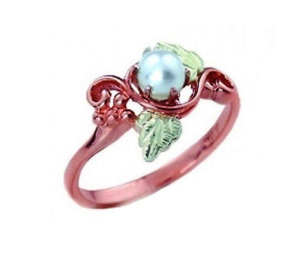 White Cultured Pearl Slim Profile Ring, 10k Rose Gold, 12k Green Gold Black Hills Gold Motif, Size 5.5
