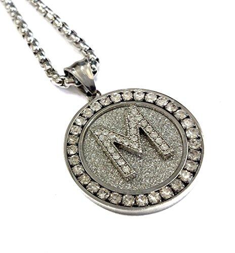 Alphabet Letter Diamond Framed Medallion Pendant Stainless Steel Necklace with 24