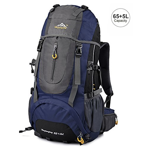 Vbiger Hiking Backpack Water Resistant Daypack 65+5L for Camping, Trekking and Mountain Climbing